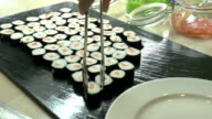 Sushi Rolls Served On Plate In Japanese Restaurant video