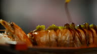 Sushi rolls with shrimp. video