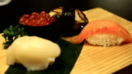 Sushi set in a restaurant video