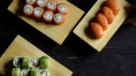 A lot of sushi sets video