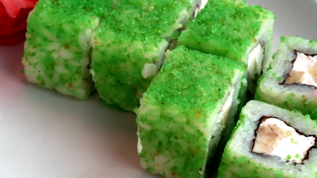 Sushi with green caviar video
