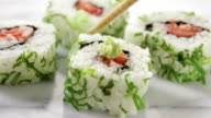 Sushi with wasabi. video