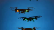 Swarm of Mad Black Drones in Deep Blue Sky video
