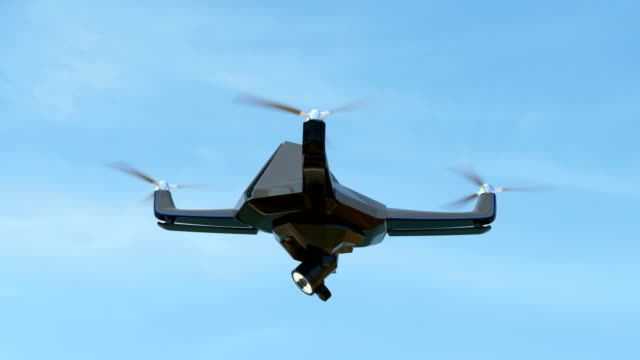 Swarm of security drones with search light flying in the sky video