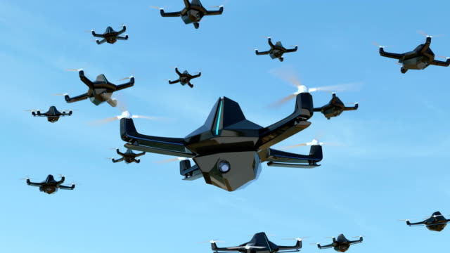 Swarm of security drones with surveillance camera flying in the sky video