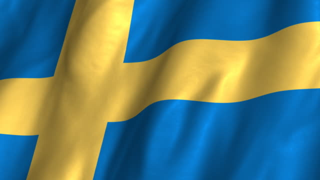 Sweden Flag - waving, looping video