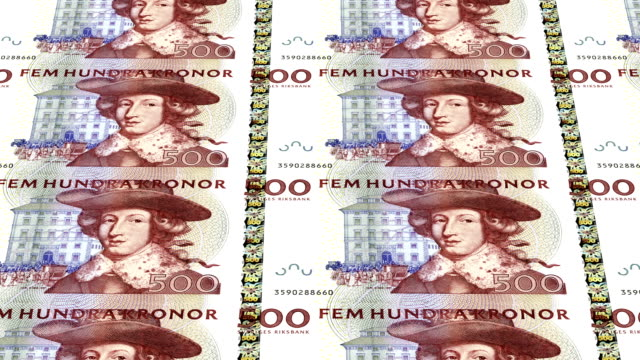 sweden kronor (crown) printing - animation video