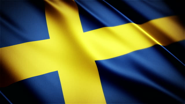 Sweden realistic national flag seamless looped waving animation video