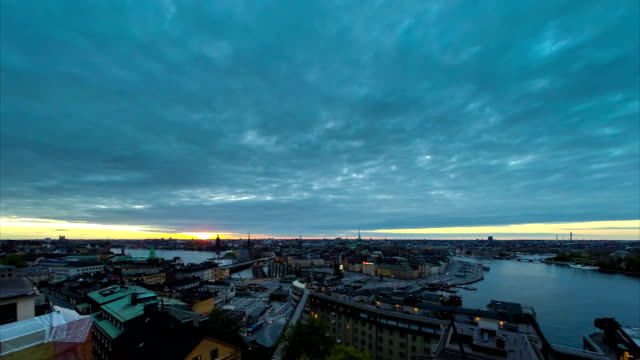 Sweden Stockholm sunset time lapse video