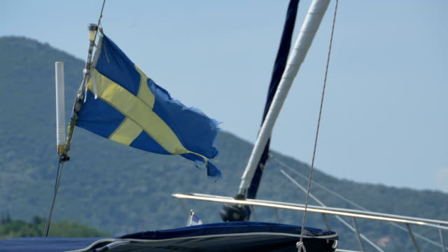 Sweden Torn Flag on Ship video