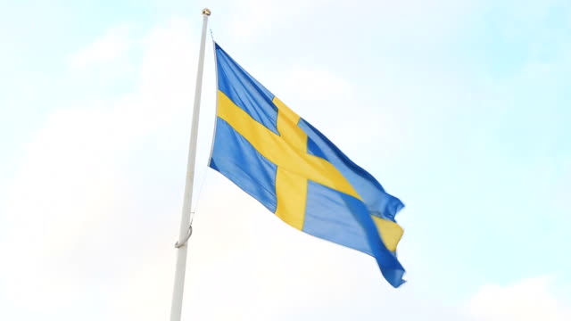 Swedish Flag Flying in the wind video