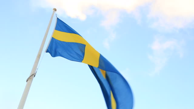 Swedish Flag Flying in the wind Zoom Out video