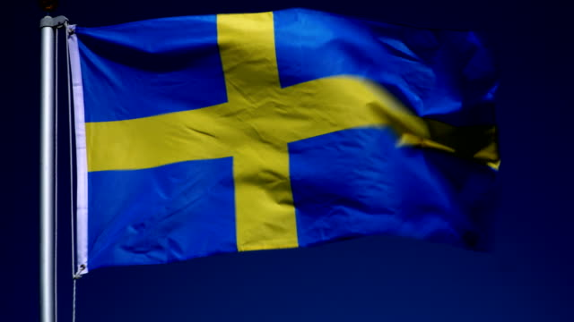 4K: Swedish Flag on Flagpole in front of Blue Sky outdoors (Sweden) video