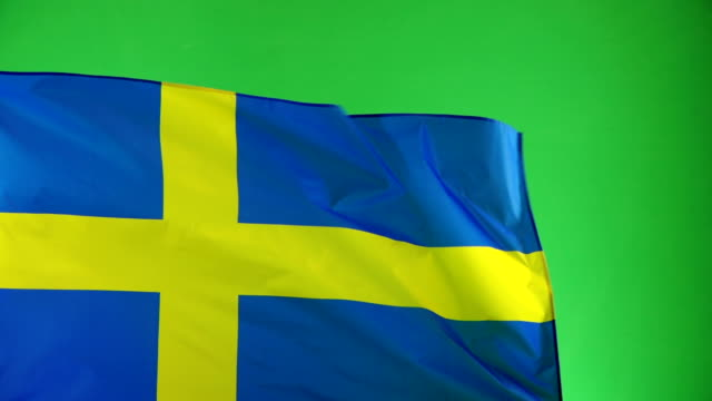 Swedish Flag on green screen, Real video, not CGI (Sweden) video