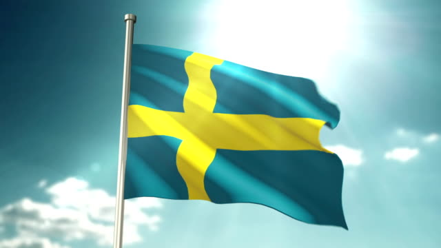 4K Swedish Flag video