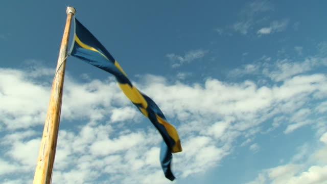 Swedish National flag waves with the blue sky at the background video