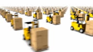 Sweeping across endless forklifts with boxes side video