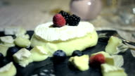 Sweet appetizer, fruits and cheese video
