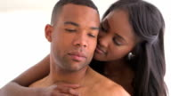 Sweet black couple being intimate video
