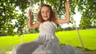 HD SLOW MOTION: Sweet Little Girl Swinging video