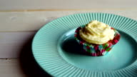 Sweet muffin cake with muffin cream. Sweet cupcake with cake cream video