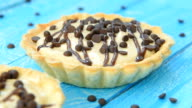 Sweet tartlet with peanut cream and chocolate video