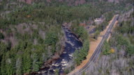 Swift River And Falls  - Aerial View - New Hampshire,  Carroll County,  United States video