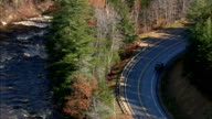Swift River And Kancamagus Highway  - Aerial View - New Hampshire,  Carroll County,  United States video