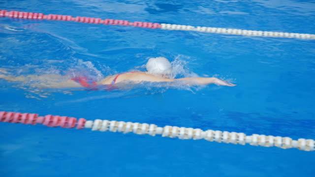 Swimmer Athlete Quickly Overcome the Track video