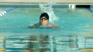 Swimmer doing butterfly stroke, super slow motion video