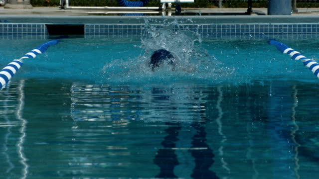 Swimmer doing butterfly stroke, super slow motion video
