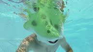 Swimmer in a Frog Costume Swim Underwater video