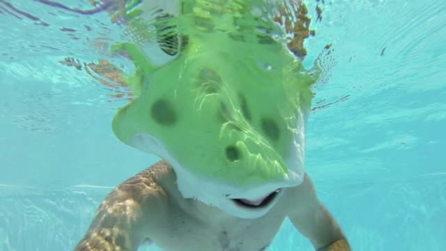 Swimmer in a Frog Costume Swim Underwater video
