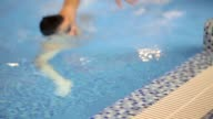 Swimmer smiling at camera video