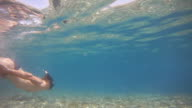 HD: Swimmer Snorkeling In Shallow Water video