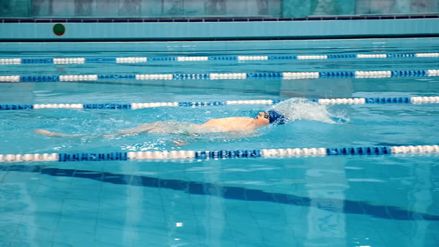Swimmer swimming in the waterpool video