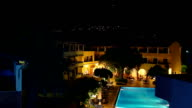 swimming pool in the hotel at night video