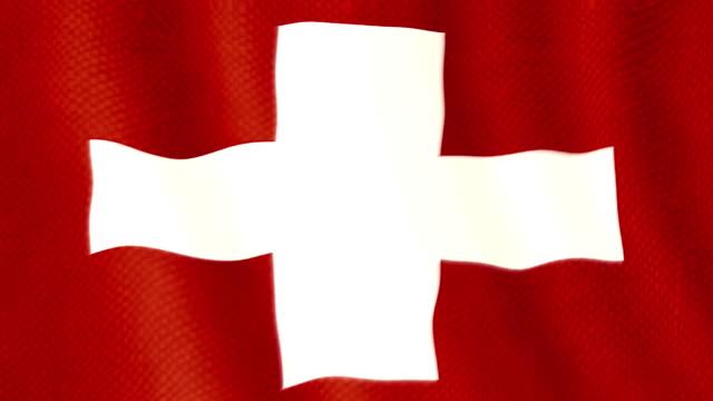Swiss flag waving animation video
