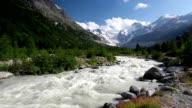 Swiss mountain landscape of the Morteratsch Glacier Valley video