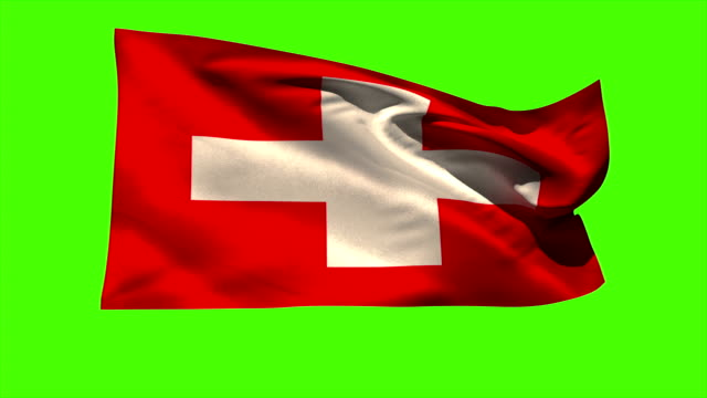 Swiss national flag blowing in the breeze video