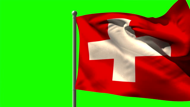 Swiss national flag waving on flagpole video