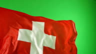 Swiss Switzerland Flag on green screen, Real video, not CGI - Super Slow Motion video