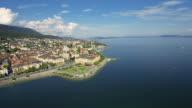 Switzerland aerial shot - wide shot of Neuchatel video