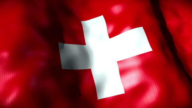 Switzerland Flag waving, looping video