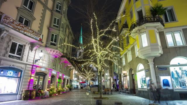 switzerland night illumination zurich city central holiday decoration street panorama 4k time lapse video