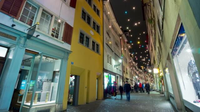 switzerland night light zurich famous central walking street panorama 4k time lapse video