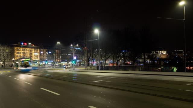 switzerland night light zurich famous traffic street crossroad panorama 4k time lapse video