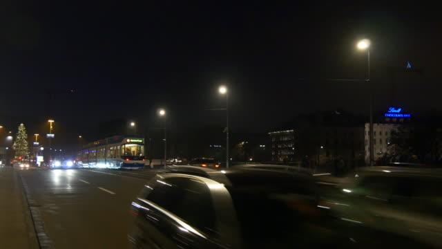switzerland night zurich traffic quaibrücke bridge christmas tree panorama 4k video