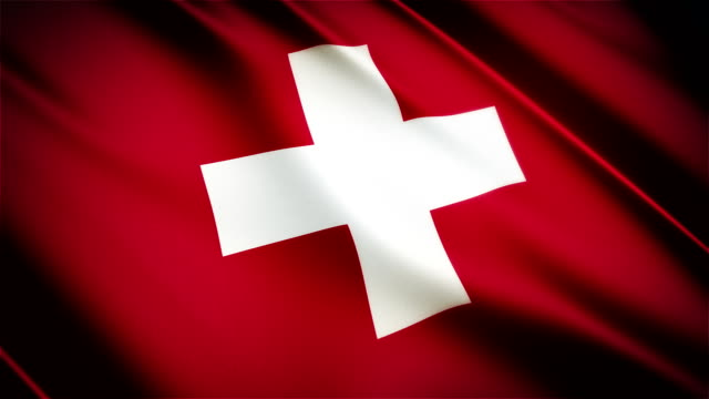 Switzerland realistic national flag seamless looped waving animation video