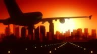 Sydney Airplane Landing Skyline Golden Background video